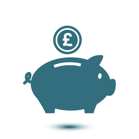 Piggy bank icon. Pictograph of moneybox flat design style.