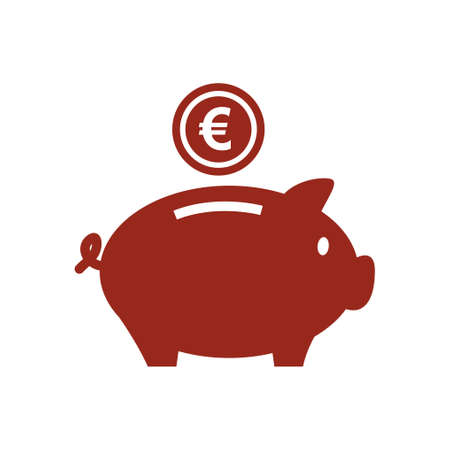 Piggy bank icon. Pictograph of moneybox flat design.