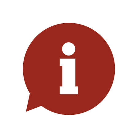Info speech bubble symbol. Flat design style.