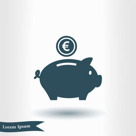 Piggy bank icon. Pictograph of moneybox vector illustration.