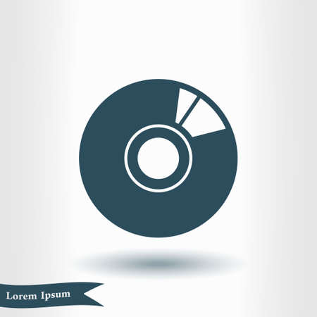 CD or DVD icon. Compact disk symbol flat design style. Illustration