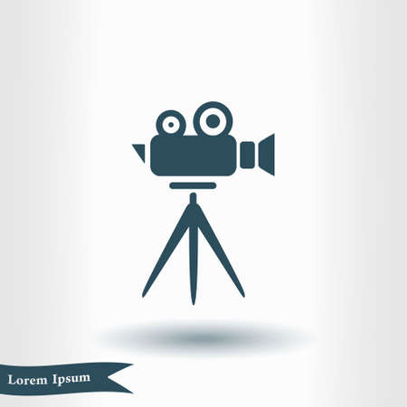 Cinema camera icon. Flat design style. Illustration