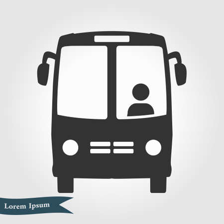 Bus icon. Schoolbus symbol. International tourist traffic. Comfortable vehicles.