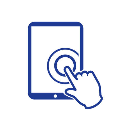 Touch screen tablet PC sign icon. Hand pointer symbol.
