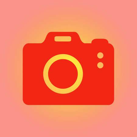 Photo camera symbol. DSLR camera sign icon. Digital camera. Flat design style.  Illustration