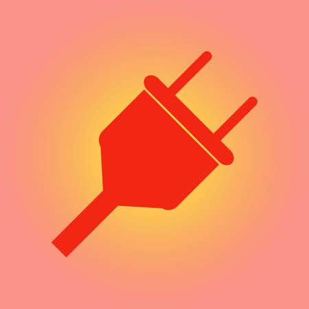 Electrical plug symbol. Web flat icon.