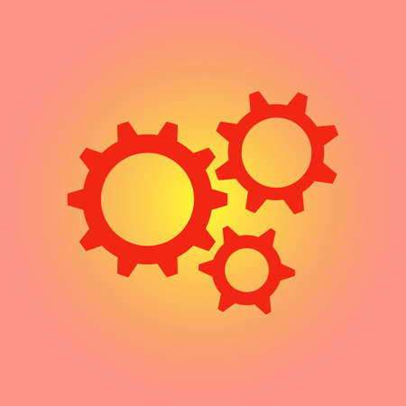 Gear icon. The development and management of business processes. Illustration