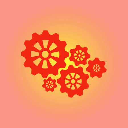 Icon of gears. Gear icon. The development and management of business processes.