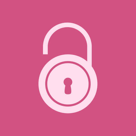 Unlock icon. Flat design style. Validation of the user completed. Vector illustration. Illustration