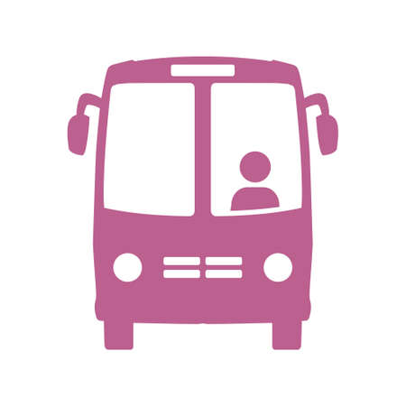 Bus icon, school bus symbol, international tourist traffic, comfortable vehicles.