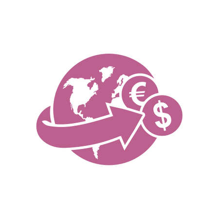 Arrow wrapped around the earth for remittances icon on white backdrop illustration. 向量圖像