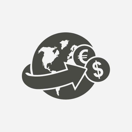 Arrow wrapped around the earth. Remittances icon illustration. 向量圖像