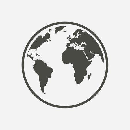 Globe icon. Traveling on the planet Earth. Trip around the world. Ilustração