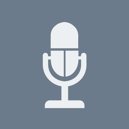 A flat art design of microphone icon on blue backdrop illustration.