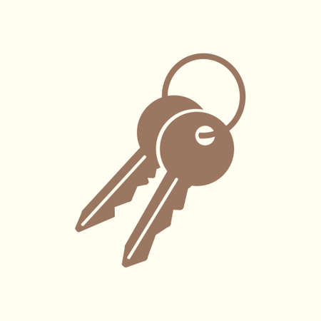 Key icon, lock symbol. Security sign flat design style. Illustration