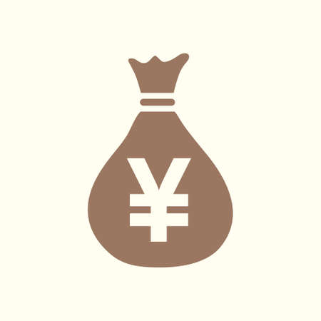 Money bag with Yen icon in silhouette Illustration.