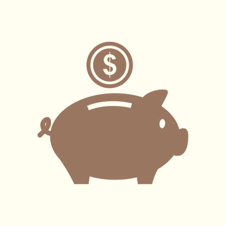 Piggy bank icon pictograph of moneybox flat design. Illustration