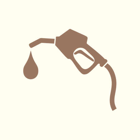 Gasoline pump nozzle sign.Gas station icon in silhouette flat design style, isolated on white.