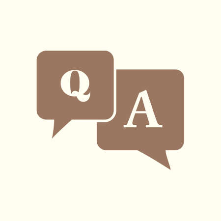 Q and A sign symbol. Speech bubbles with question and answer. Vectores