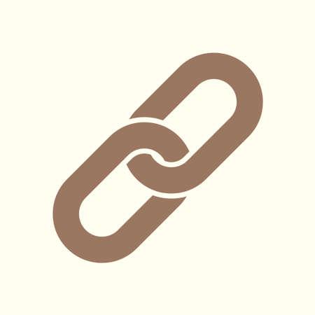 Chain link symbol on flat style illustration.