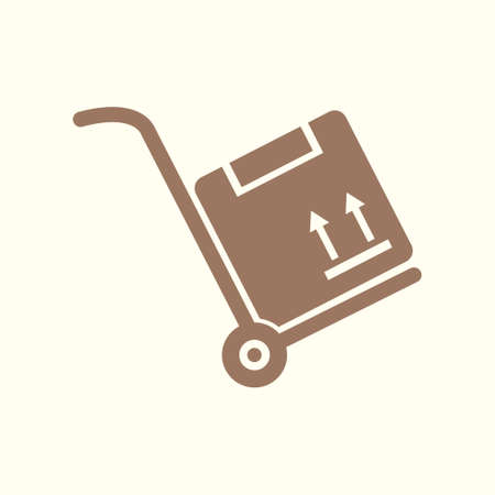 A flat art of hand truck and box sign symbol on silhouette illustration. Illustration