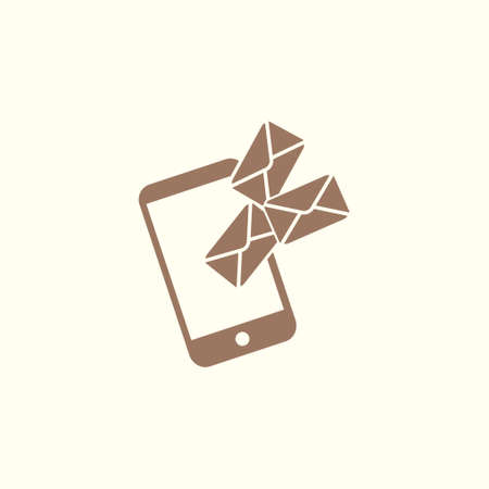 Smartphone email or sms icon. Mobile mail sign symbol. Vector illustration.