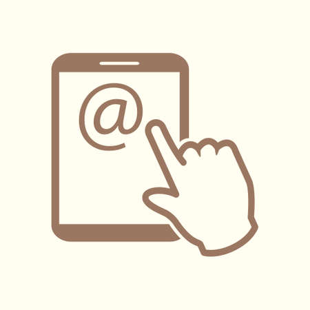 Touch screen tablet PC sign icon. Hand pointer symbol. Mail on Screen Tablet PC. Vector illustration.
