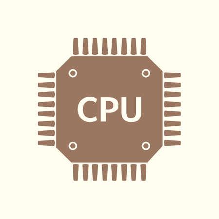 Circuit board icon. Technology scheme square symbol. Flat design style. Vector illustration.