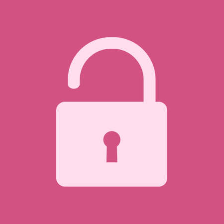 Unlock icon. Flat design style. Access to the user.