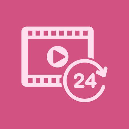 Streaming video symbol 24 hours vector illustration Çizim