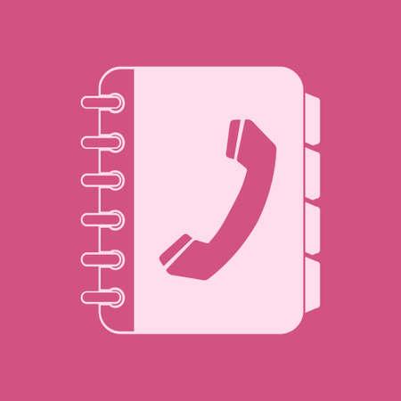 Phone book flat icon vector illustration