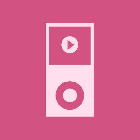 Portable media player icon. Flat design style.  Illustration