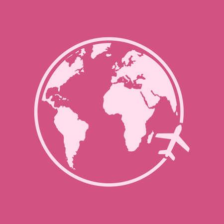 Airplane icon travel. Trip round the world. Flat design style.