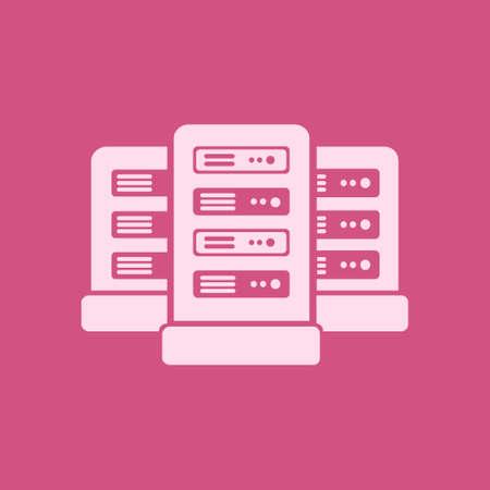 Network servers in data center icon. Flat design style. Çizim