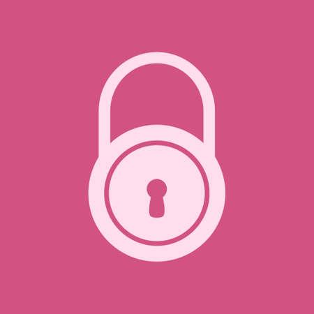 Lock icon.  Flat design style. Access to the user. Ilustração