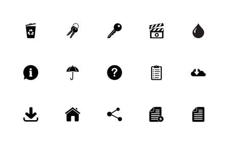 Simple set of general icons: multimedia