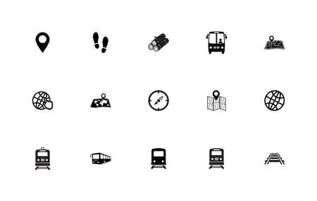 Stock vector simple set of trip around the world. Çizim