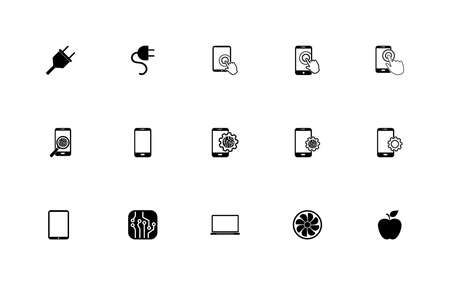 Simple set of electronic  devices icons Çizim