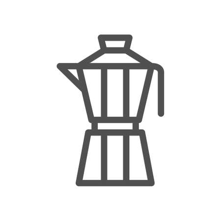 Italian coffee maker moka pot icon. Linear style icon. flat design element. Editable stroke. 48x48 Pixel Perfect.