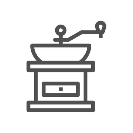 Manual coffee grinder icon in vintage style. Classic illustration. Linear style. Editable stroke. 48x48 Pixel Perfect.