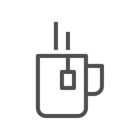 Cup of tea with bag symbol. Linear style icon. flat design element. Editable stroke. 48x48 Pixel Perfect.