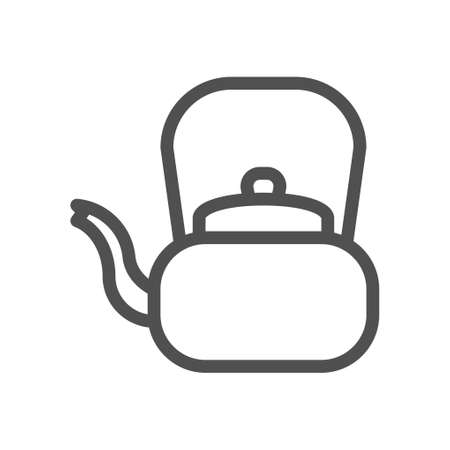 Retro teapot. Tea ceremony linear icon. Aluminum kettle. Linear style icon. flat design element. Editable stroke.