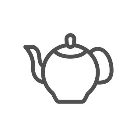 Kettle teapot icon. Kitchen utensil. Linear style icon. Flat design element. Editable stroke. 48x48 Pixel Perfect