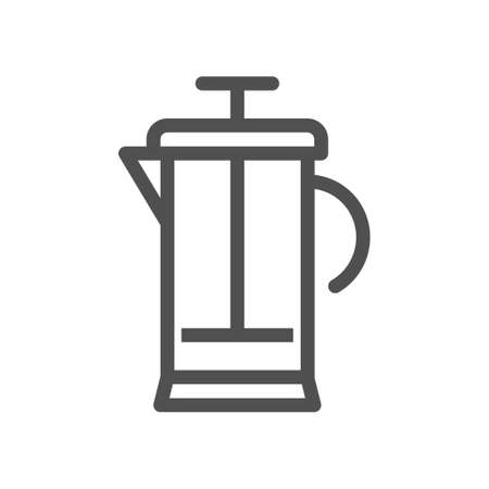 French press icon. Linear style icon. flat design element. Editable stroke. 48x48 Pixel Perfect.
