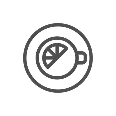 Lemon tea cup icon. View from above. Morning charge of vivacity. Linear style icon. flat design element. Editable stroke.