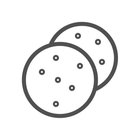 Sweet cookies line icon. Outline vector sign, linear style pictogram isolated on white.