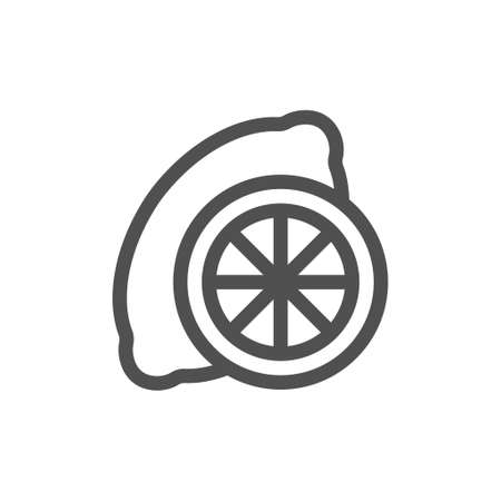Symbol of Lemon. Thin line Icon of Food. Stroke Pictogram Graphic for Web Design. Quality Outline Vector Symbol Concept. Linear style icon. flat design element. Editable stroke. 48x48 Pixel Perfect.