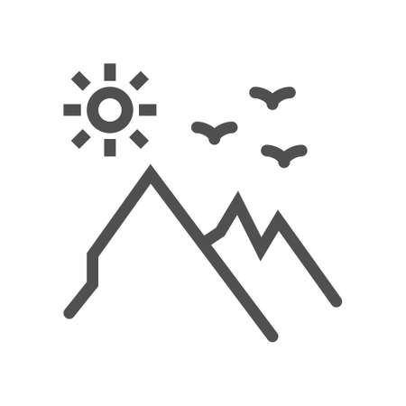 Mountains and sun line icon. linear style sign for mobile concept and web design. Mountain landscape outline vector icon. Linear style icon. flat design element. Editable stroke. 48x48 Pixel Perfect. Ilustração