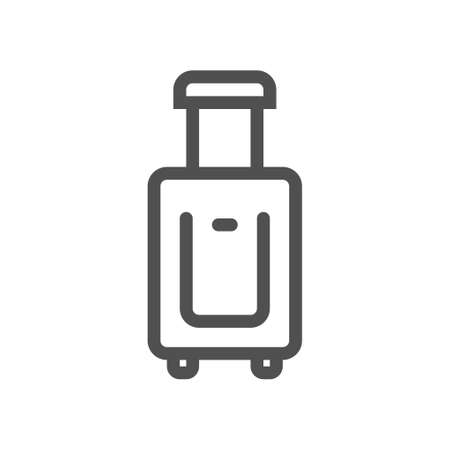 Travel suitcase with wheels line icon. Linear style icon. Flat design element. Editable stroke. 48x48 Pixel Perfect. Ilustração