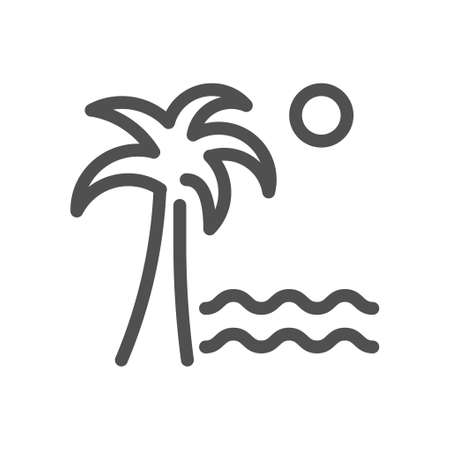 Palm tree on a island with sand in the middle of the ocean with the sun. Vacation beach symbol. Linear style icon. flat design element. Editable stroke. 48x48 Pixel Perfect.